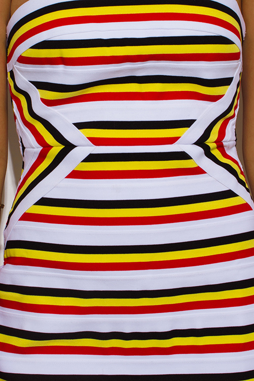 Cute cheap multi stripe print bandage strapless sexy bodycon club mini dress