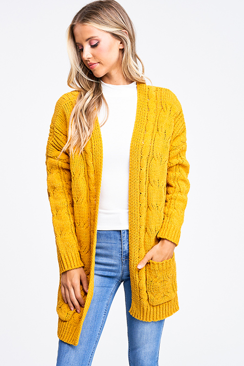 Cute cheap Mustard amber yellow chenille chunky cable knit open front pocketed boho sweater cardigan