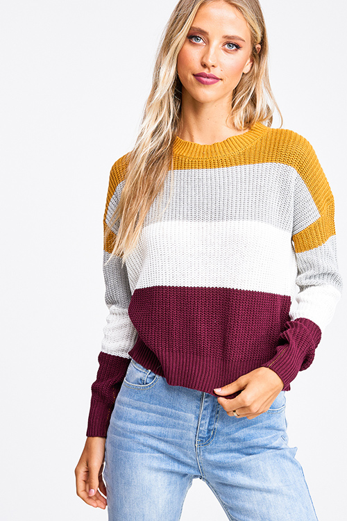 Cute cheap Mustard burgundy color block long sleeve boho cropped sweater top