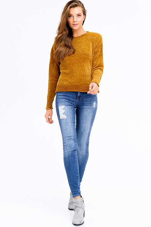 Cute cheap mustard golden yellow chenille fuzzy knit long dolman sleeve  boho cropped sweater top 8137e79c4