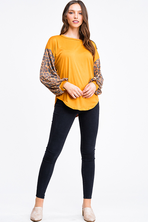 Cute cheap Mustard yellow animal print long bubble sleeve round neck boho top
