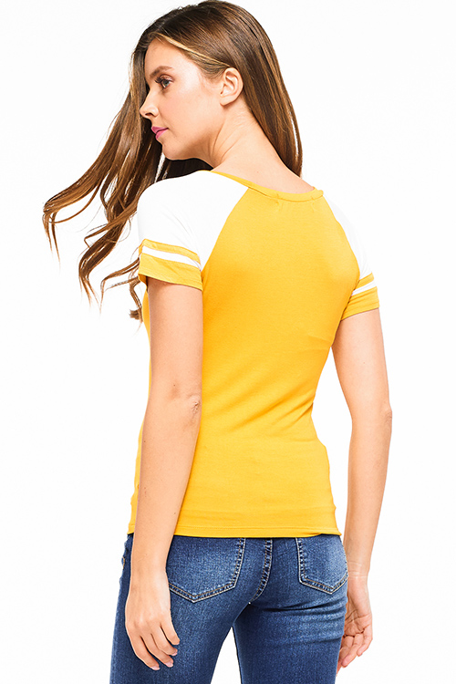 Cute cheap Mustard yellow color block striped short sleeve baseball tee shirt top