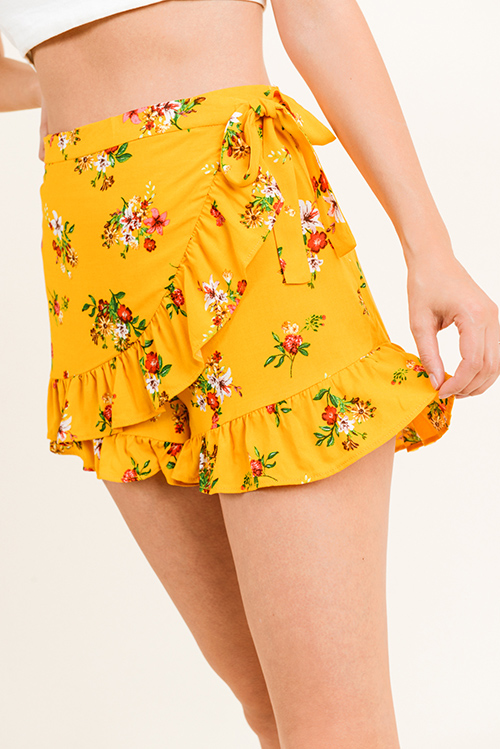 Cute cheap Mustard yellow floral print high waisted wrap overlay tie waist ruffled hem boho skort shorts