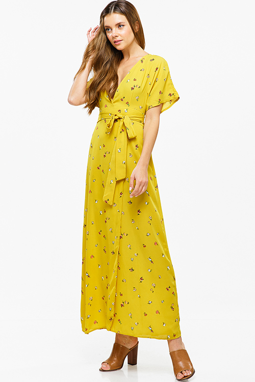 Cute cheap Mustard yellow floral print kimono sleeve faux wrap tie waist boho party maxi sun dress