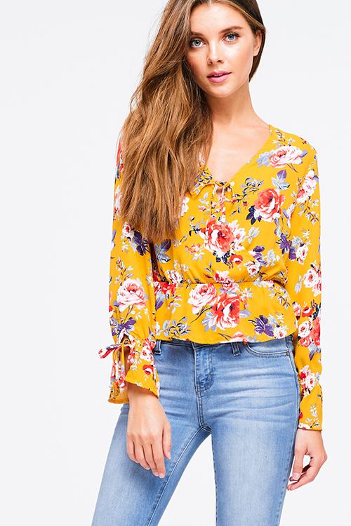 Cute cheap Mustard yellow floral print long sleeve surplice tie front ruffle hem boho blouse top