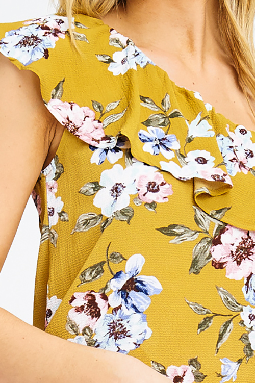 Cute cheap mustard yellow floral print one shoulder ruffle tiered boho party blouse top