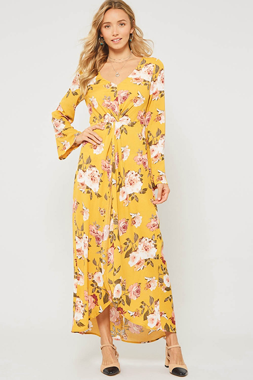 Cute cheap Mustard yellow floral print twist front long sleeve boho evening romper maxi dress