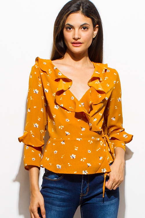 Shop Wholesale Womens Mustard Yellow Floral Print V Neck