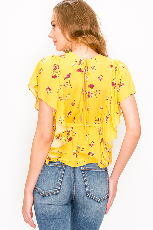 Cute cheap Mustard yellow floral print v neck ruffled butterfly sleeve tie back boho blouse top