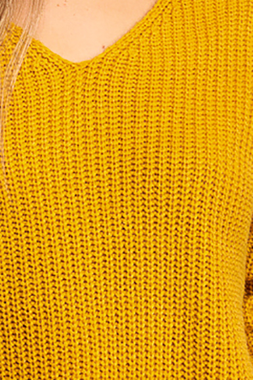Cute cheap Mustard yellow knit long sleeve v neck twist knotted back boho sweater top