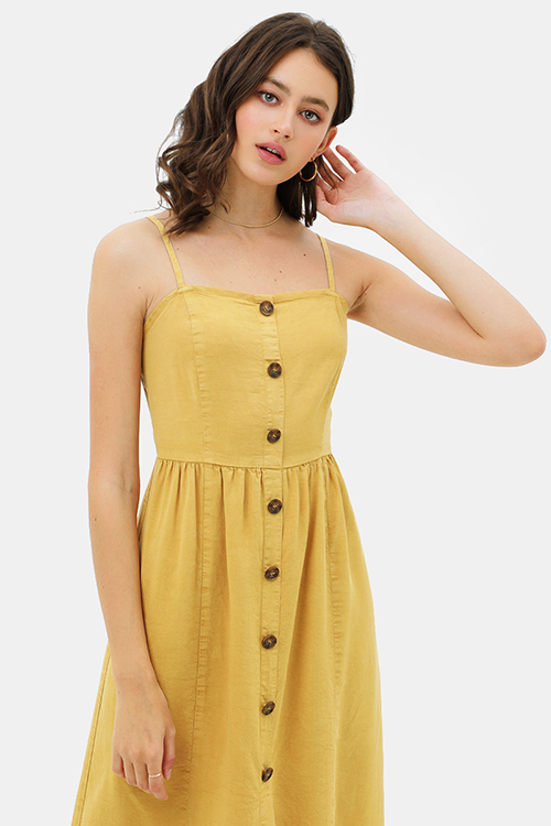 Cute cheap Mustard yellow linen sleeveless button trim boho midi sun dress