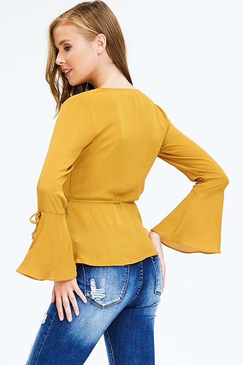 Cute cheap mustard yellow long trumpet bell sleeve wrap tie front boho blouse top