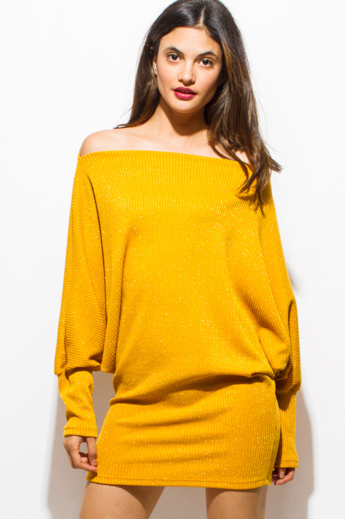 Cute cheap mustard yellow metallic lurex off shoulder long dolman sleeve ribbed sweater tunic club mini dress