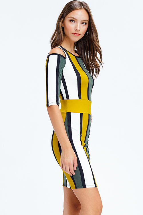 Cute cheap mustard yellow olive green color block striped cold shoulder half sleeve pencil fitted club midi dress
