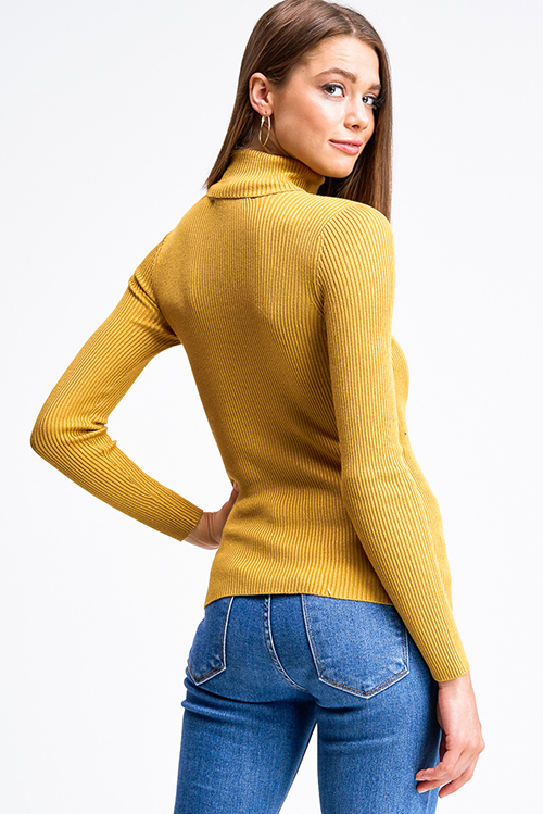 Cute cheap Mustard yellow ribbed knit long sleeve turtle neck fitted sweater top