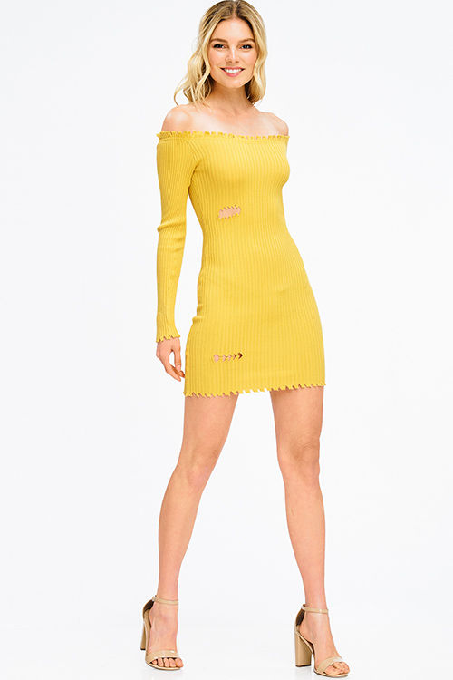 Cute cheap mustard yellow ribbed knit off shoulder long sleeve distressed bodycon club mini dress