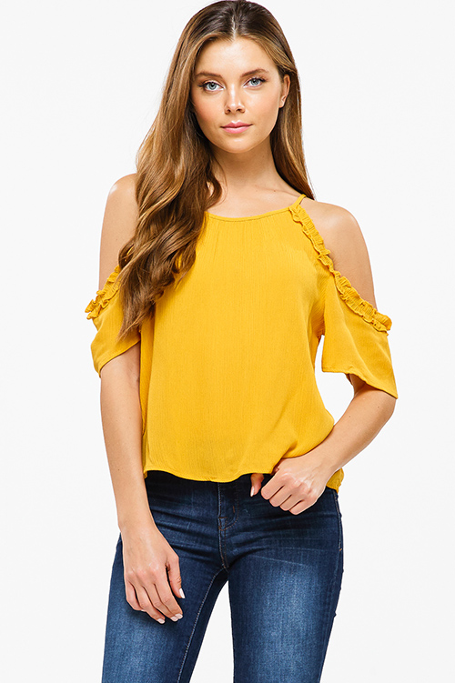 Cute cheap Mustard yellow ruffled cold shoulder keyhole boho party blouse top