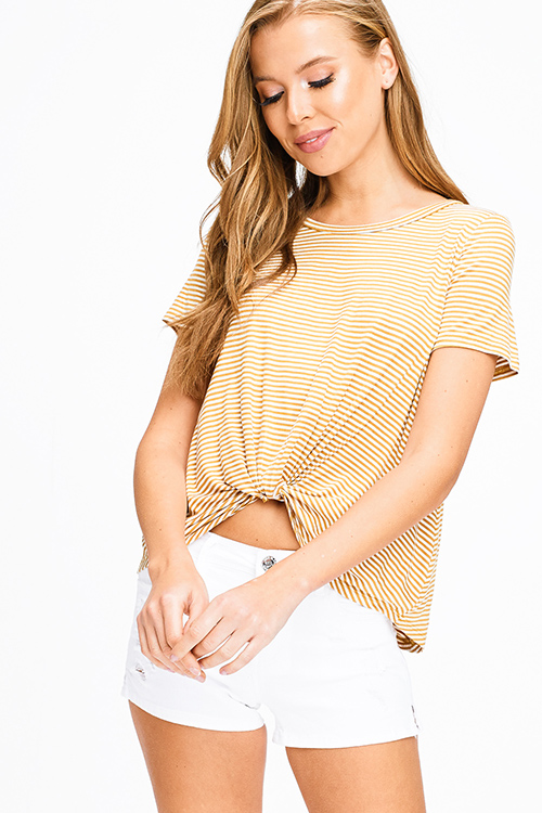 Cute cheap Mustard yellow striped short sleeve twist knotted front boho tee shirt top