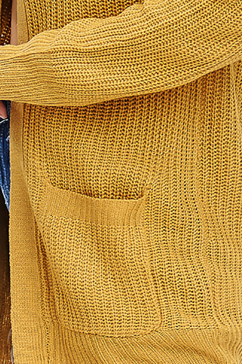 Cute cheap mustard yellow waffle knit long sleeve open front pocketed boho sweater cardigan Plus  size