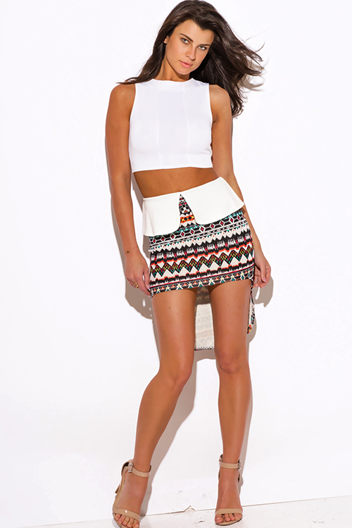 Shop ethnic print high low peplum scuba pencil mini skirt