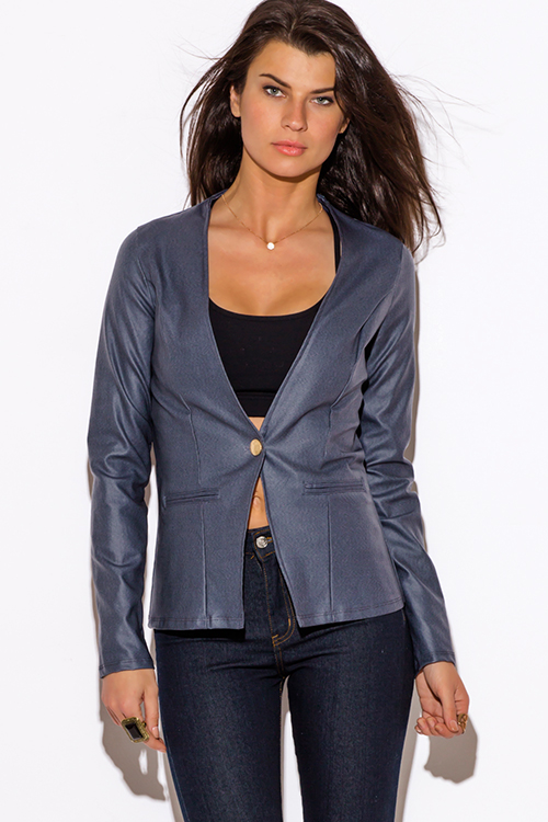 Cute cheap navu blue cut out back long sleeve blazer jacket