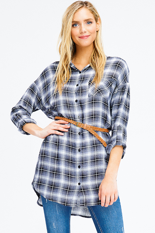 Cute cheap navy and black plaid long sleeve belted button up tunic top boho mini shirt dress