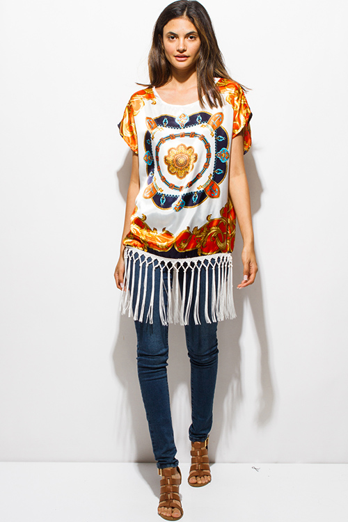 Cute cheap navy and orange scarf print fringe trimmed silky boho kimono tunic top