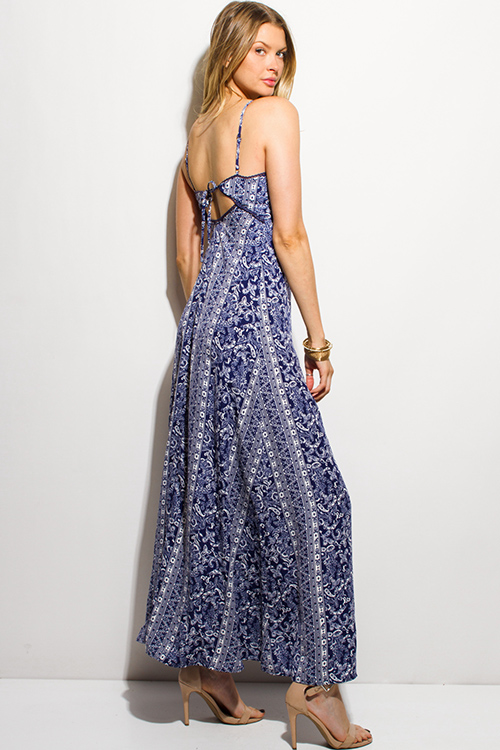 Cute cheap navy blue abstract paisley print button up cut out tie back evening boho maxi sun dress