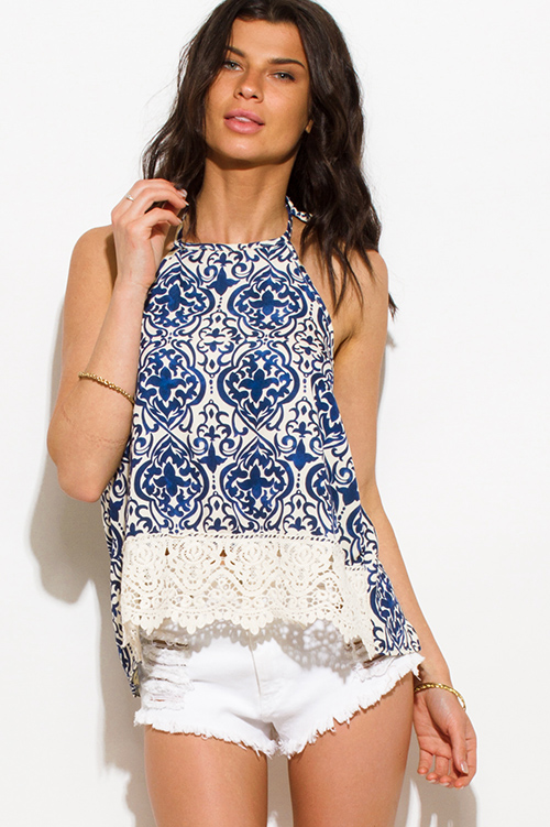 Cute cheap navy blue baroque print halter crochet trim backless boho tank top