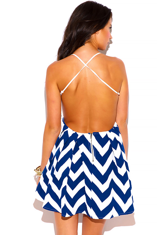 Cute cheap navy blue chevron print white crochet lace backless babydoll skater cocktail party mini dress