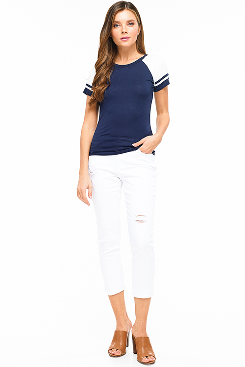 Cute cheap Navy blue color block striped short sleeve baseball tee shirt top