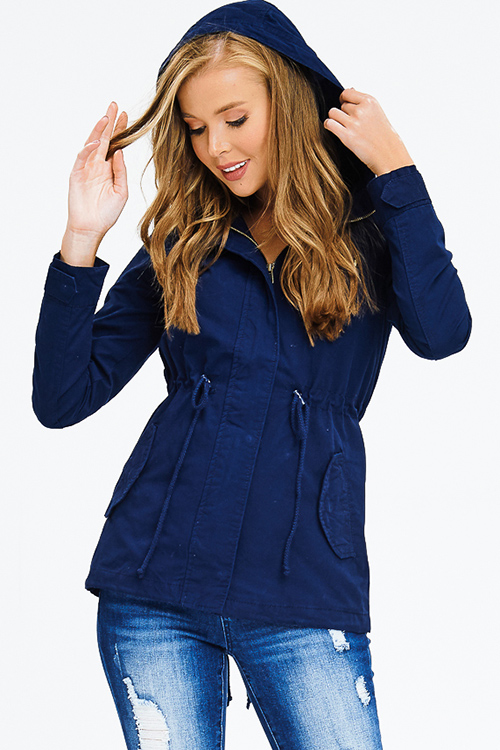 Cute cheap navy blue cotton zip up drawstring waist hooded pocketed cargo anorak jacket