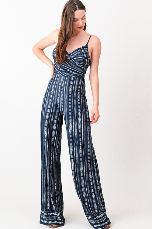 afd29b8ad6f7 Cute cheap Navy blue ethnic print sleeveless surplice wrap top boho resort  palazzo jumpsuit
