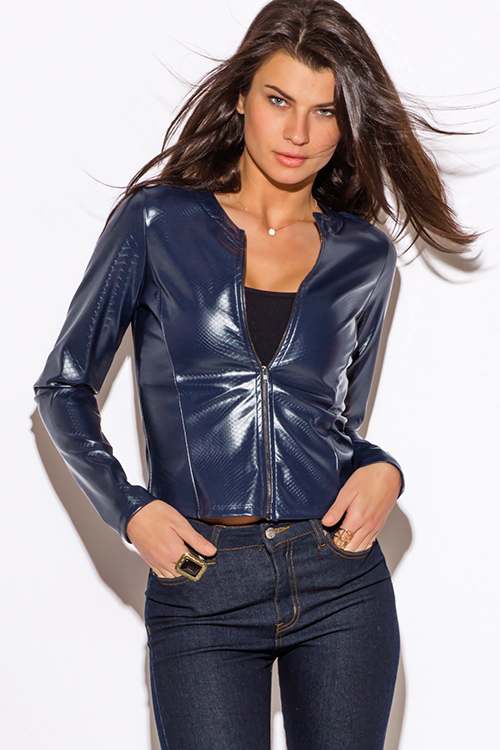 Cute cheap navy blue faux leather croc embossed zip up moto jacket