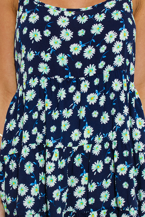 Cute cheap navy blue floral daisy print spaghetti strap backless boho tank top