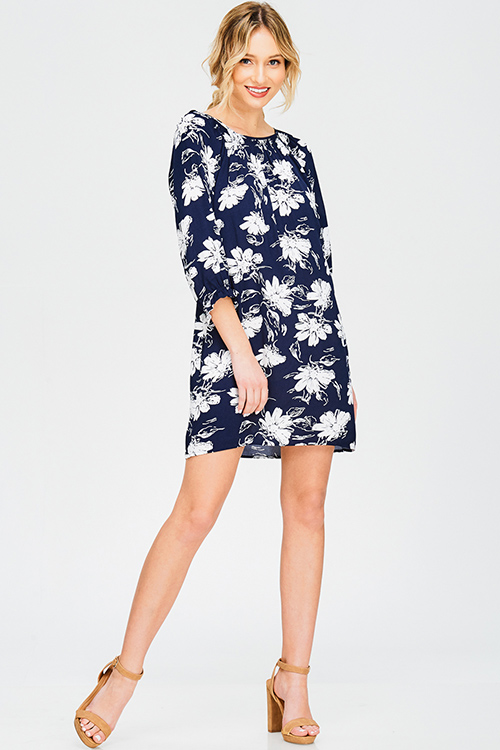 Cute cheap navy blue floral print off shoulder quarter sleeve boho shift mini dress