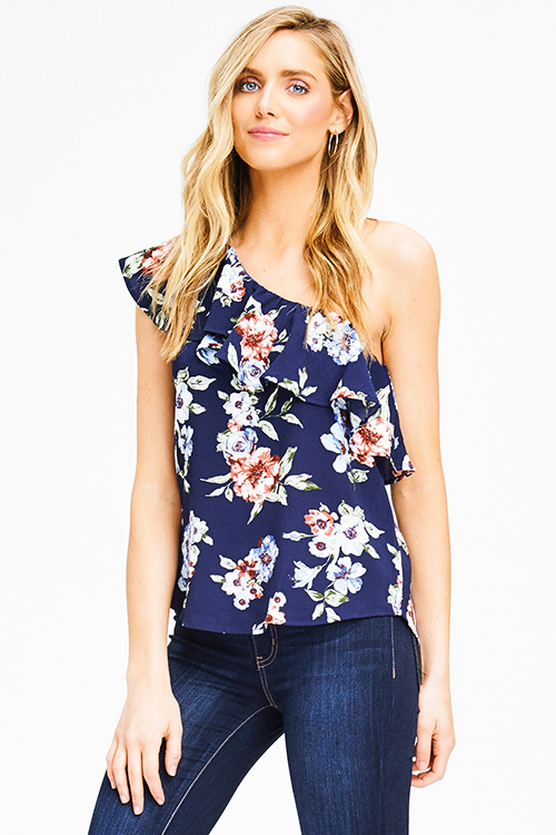 Cute cheap navy blue floral print one shoulder ruffle tiered boho party blouse top