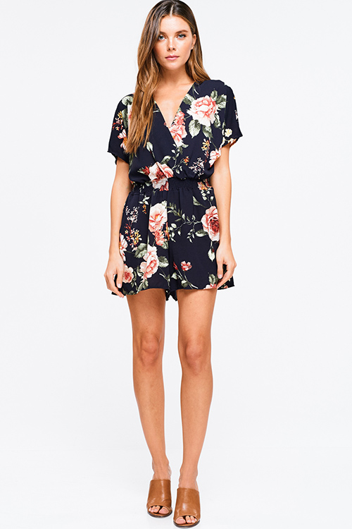 Cute cheap Navy blue floral print surplice v neck shirred waist short sleeve boho romper playsuit jumpsuit