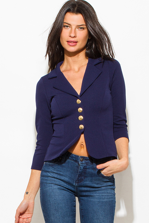 Cute cheap navy blue golden button quarter sleeve fitted blazer jacket top