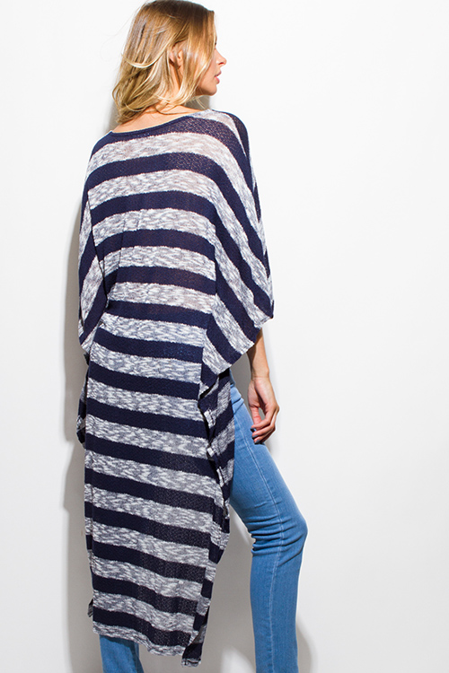 Cute cheap navy blue gray striped sweater knit high low hem boat neck dolman sleeve poncho tunic top
