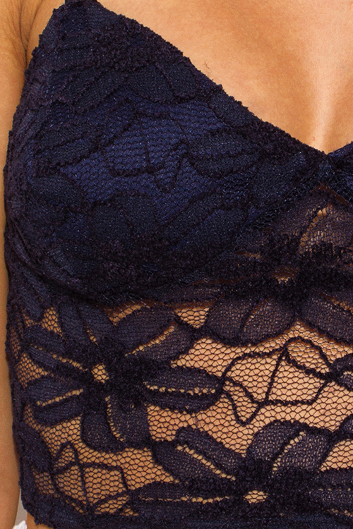 Cute cheap navy blue lace overlay v neck bralette boho party crop top