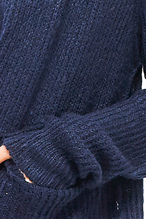 Cute cheap Navy blue long sleeve exposed stitch pocketed open front sweater cardigan