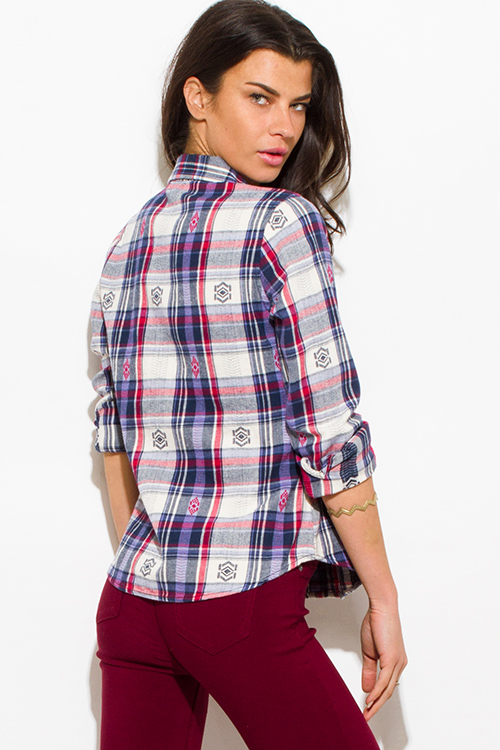 Cute cheap navy blue multicolor plaid flannel embroidered long sleeve button up blouse top