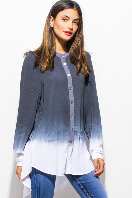 Cute cheap navy blue ombre tie dye long sleeve back vent boho button up tunic blouse top