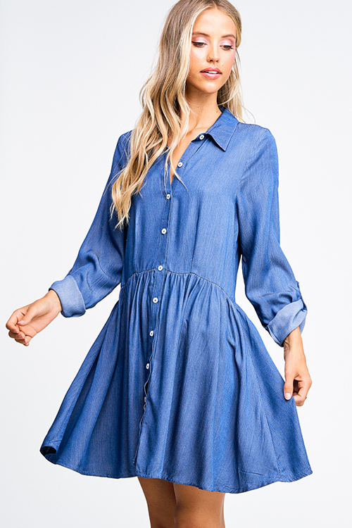 Cute cheap Navy blue pinstripe chambray long sleeve button up boho a line shirt dress