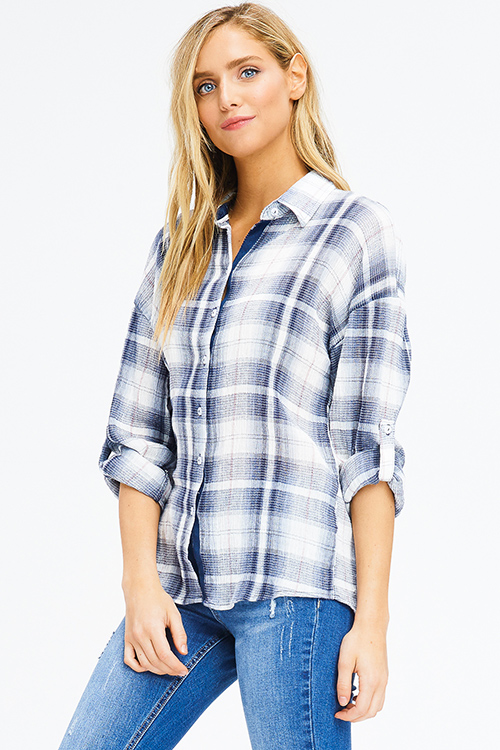 Cute cheap navy blue plaid cotton gauze long sleeve button up blouse top