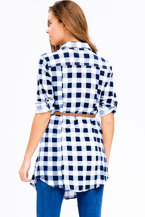 Cute cheap navy blue plaid v neck button up long sleeve belted tunic mini shirt dress