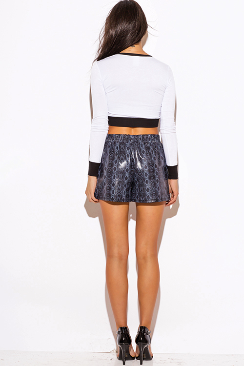 Cute cheap navy blue python snake animal print faux leather pocketed shorts