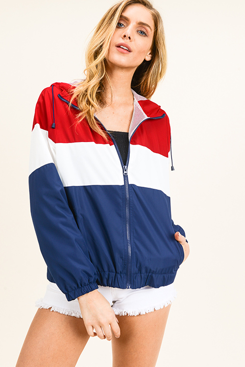 Cute cheap Navy blue red color block zip up mesh lined hooded pocketed windbreaker jacket