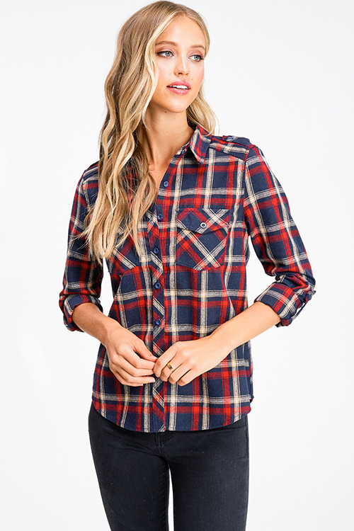 Cute cheap Navy blue red plaid flannel long sleeve button up blouse top